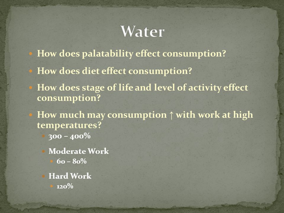 How does palatability effect consumption? How does diet effect consumption? How does stage of life and level of activity effect consumption? How much