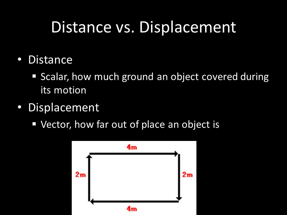 Distance vs. Displacement Distance  Scalar, how much ground an object covered during its motion Displacement  Vector, how far out of place an object