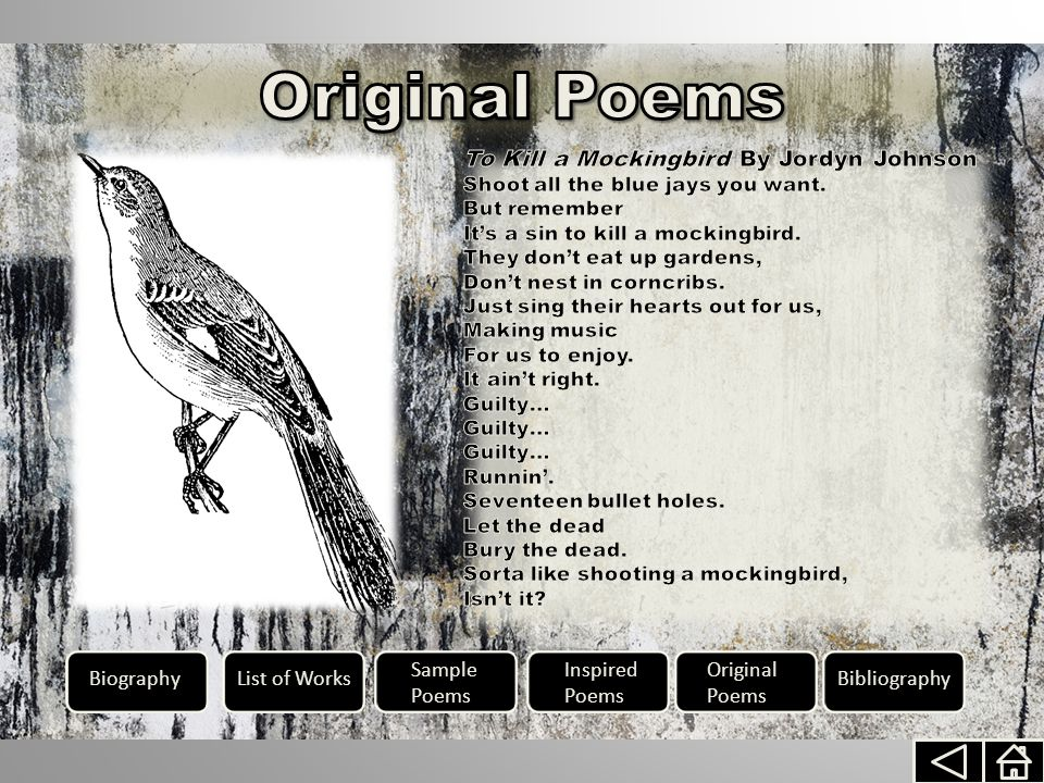BiographyList of Works Sample Poems Inspired Poems Original Poems Bibliography