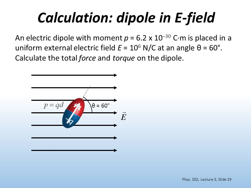 Calculation: dipole in E-field +q+q –q An electric dipole with moment p = 6.2 x 10 –30 C∙m is placed in a uniform external electric field E = 10 6 N/C at an angle θ = 60°.