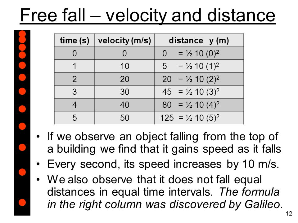 Free fall – velocity and distance If we observe an object falling from the top of a building we find that it gains speed as it falls Every second, its speed increases by 10 m/s.