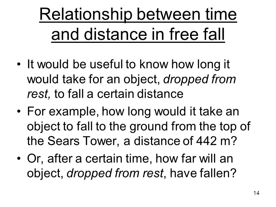 Relationship between time and distance in free fall It would be useful to know how long it would take for an object, dropped from rest, to fall a certain distance For example, how long would it take an object to fall to the ground from the top of the Sears Tower, a distance of 442 m.