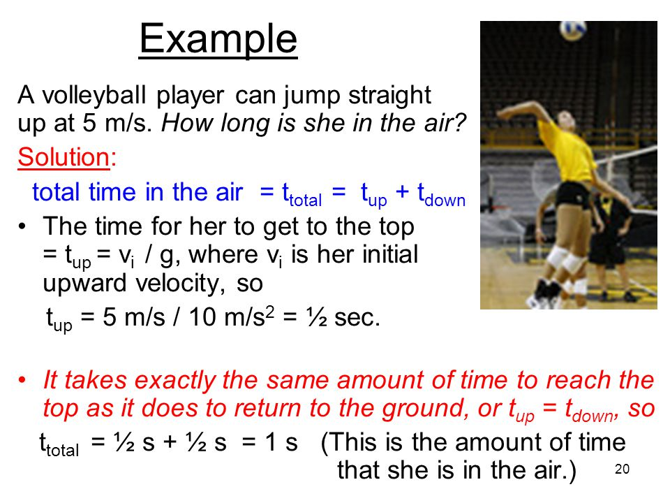 Example A volleyball player can jump straight up at 5 m/s.
