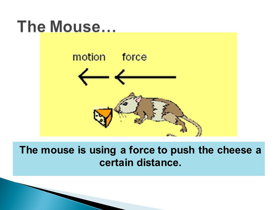 The mouse is using a force to push the cheese a certain distance.