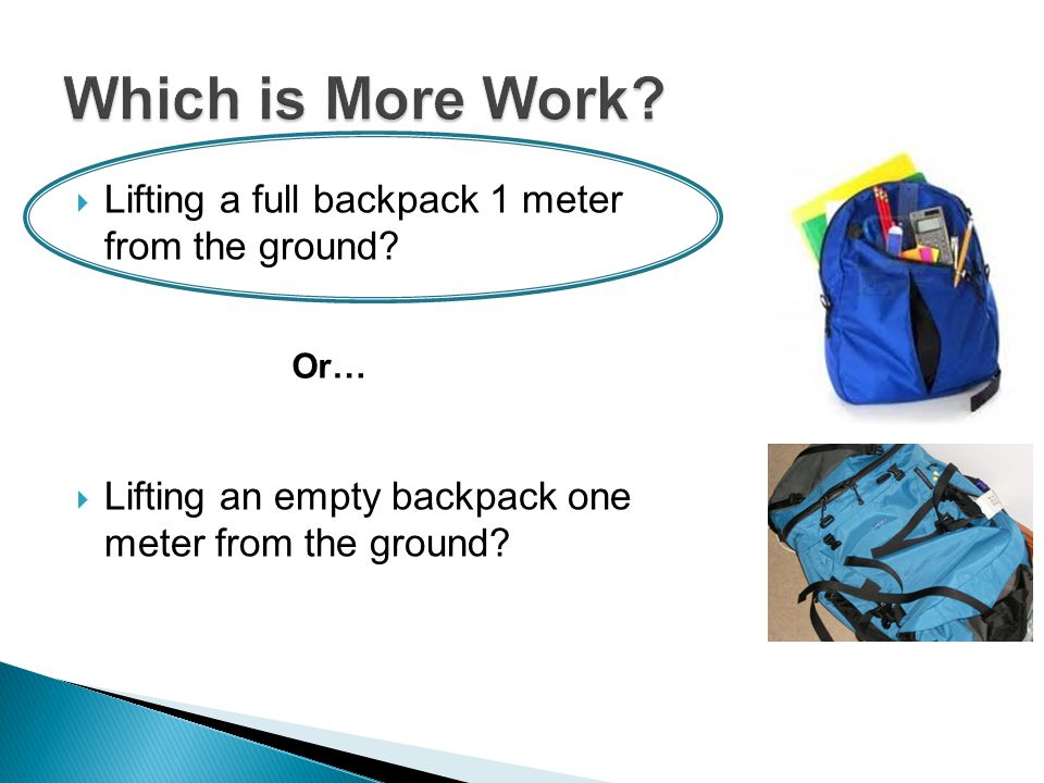  Lifting a full backpack 1 meter from the ground.