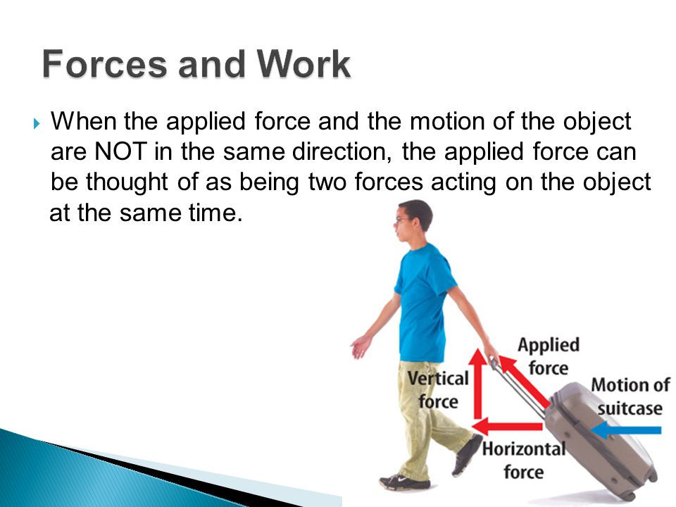 When the applied force and the motion of the object are NOT in the same direction, the applied force can be thought of as being two forces acting on the object at the same time.