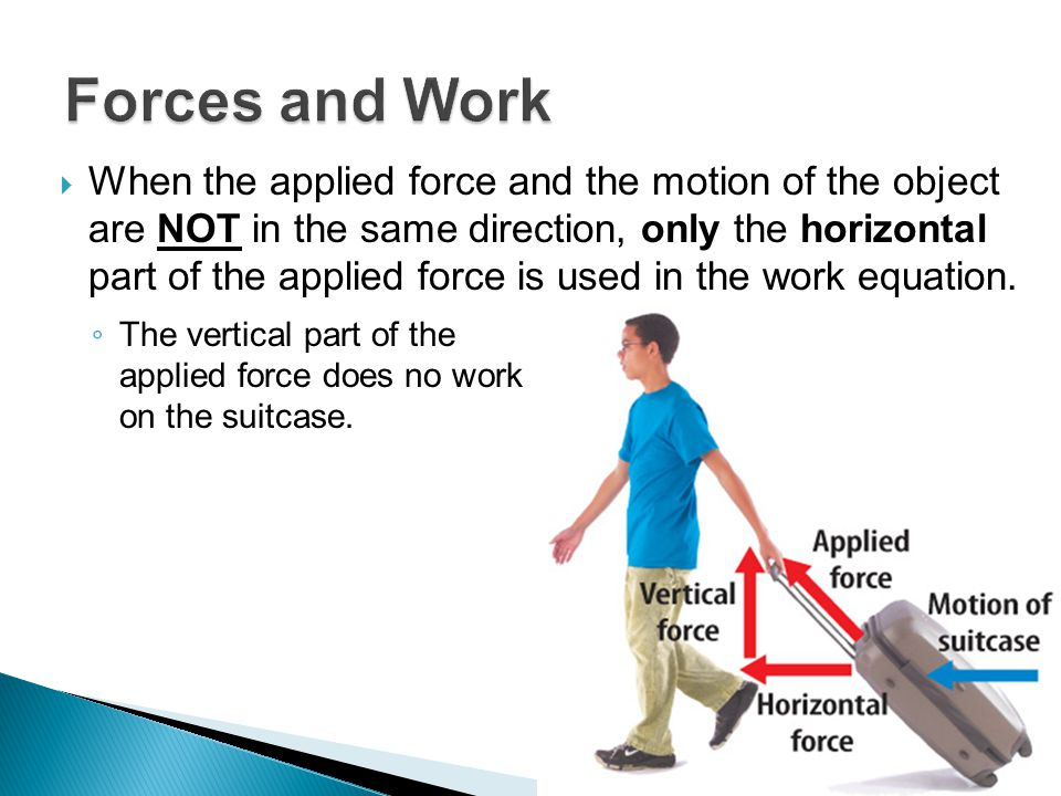  When the applied force and the motion of the object are NOT in the same direction, only the horizontal part of the applied force is used in the work equation.