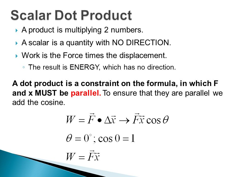  Work = The Scalar Product between Force and Displacement.