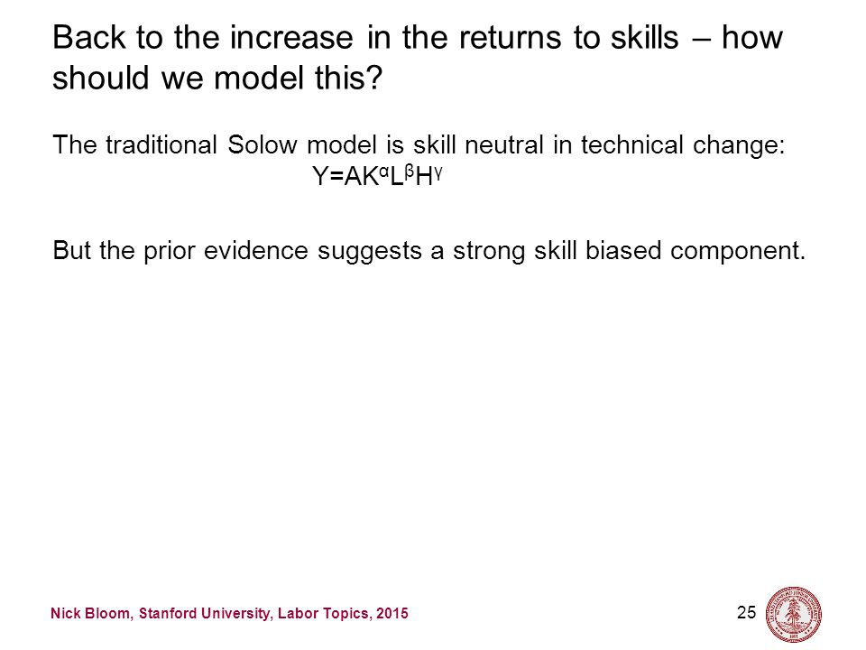Nick Bloom, Stanford University, Labor Topics, 2015 25 Back to the increase in the returns to skills – how should we model this? The traditional Solow