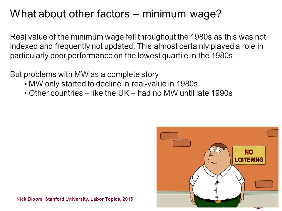 Nick Bloom, Stanford University, Labor Topics, 2015 46 What about other factors – minimum wage.
