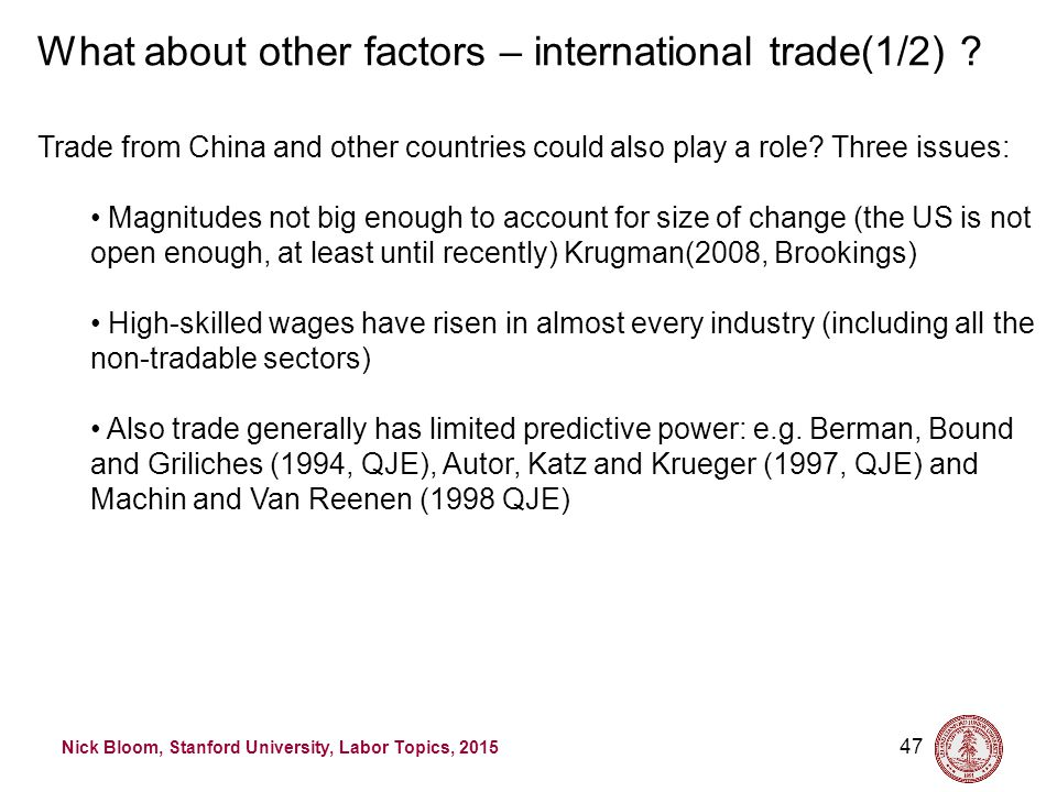 Nick Bloom, Stanford University, Labor Topics, 2015 47 What about other factors – international trade(1/2) .