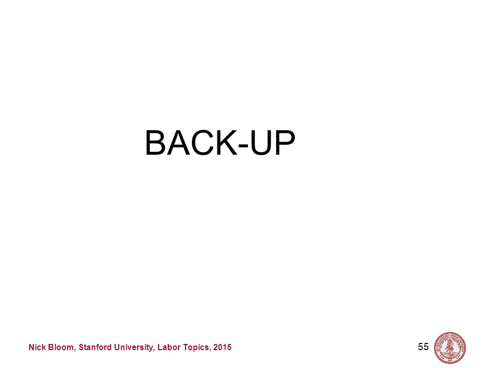 Nick Bloom, Stanford University, Labor Topics, 2015 55 BACK-UP