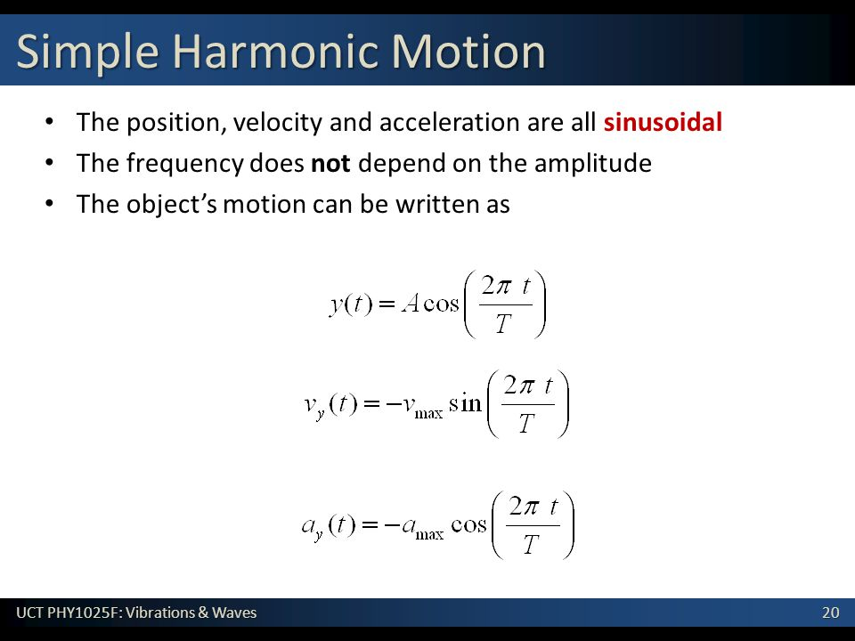 20 UCT PHY1025F: Vibrations & Waves Simple Harmonic Motion The position, velocity and acceleration are all sinusoidal The frequency does not depend on