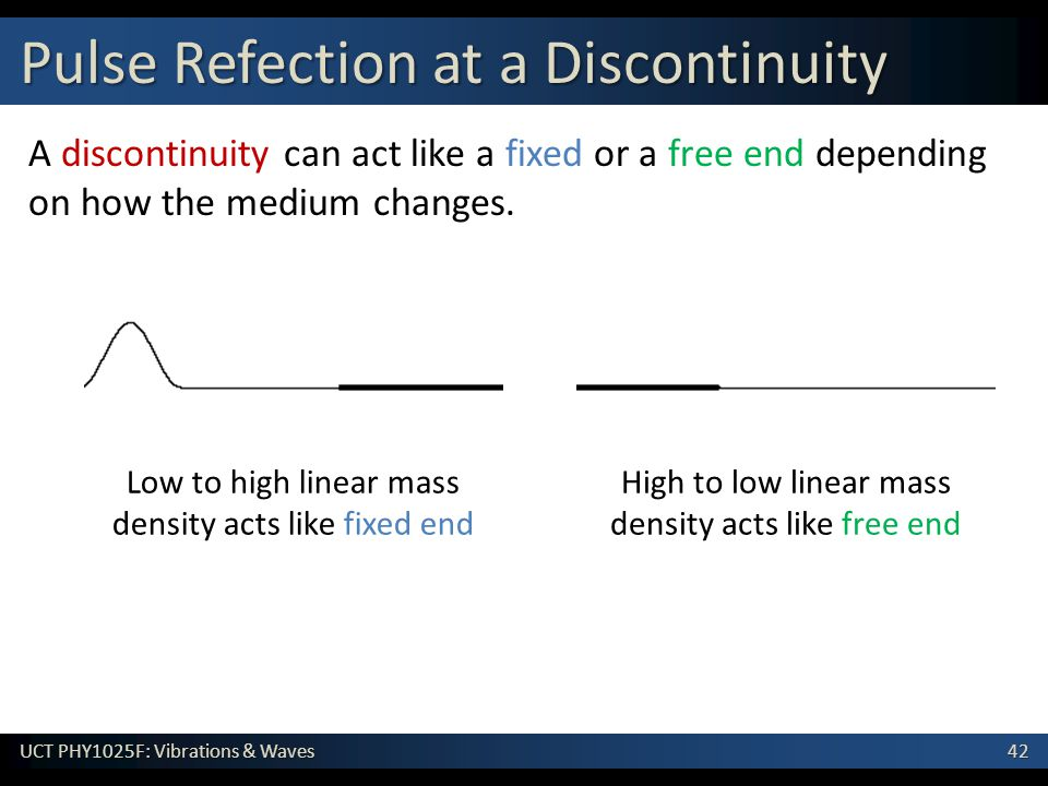 42 UCT PHY1025F: Vibrations & Waves Pulse Refection at a Discontinuity A discontinuity can act like a fixed or a free end depending on how the medium