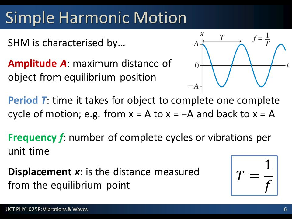 6 UCT PHY1025F: Vibrations & Waves SHM is characterised by… Amplitude A: maximum distance of object from equilibrium position Period T: time it takes