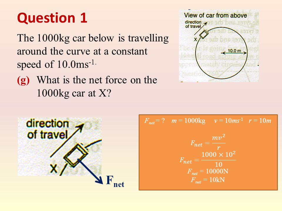 Question 1 The 1000kg car below is travelling around the curve at a constant speed of 10.0ms -1. (g) What is the net force on the 1000kg car at X? F n