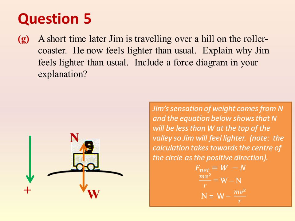 Question 5 (g) A short time later Jim is travelling over a hill on the roller- coaster.