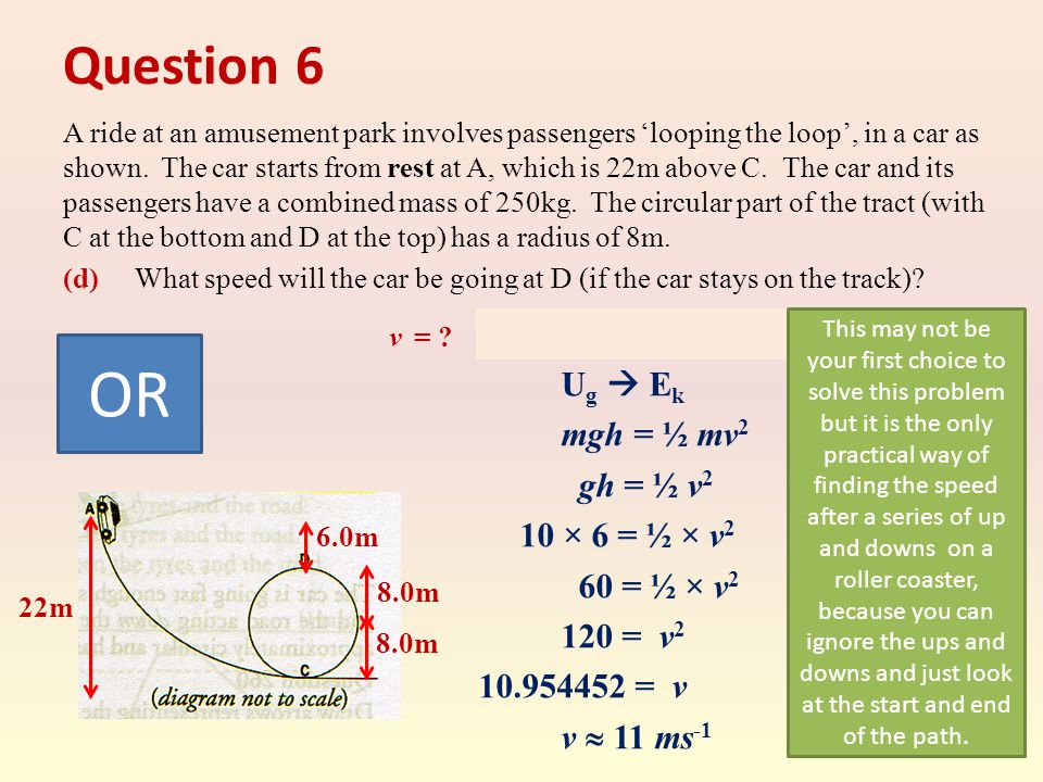 Question 6 A ride at an amusement park involves passengers 'looping the loop', in a car as shown.