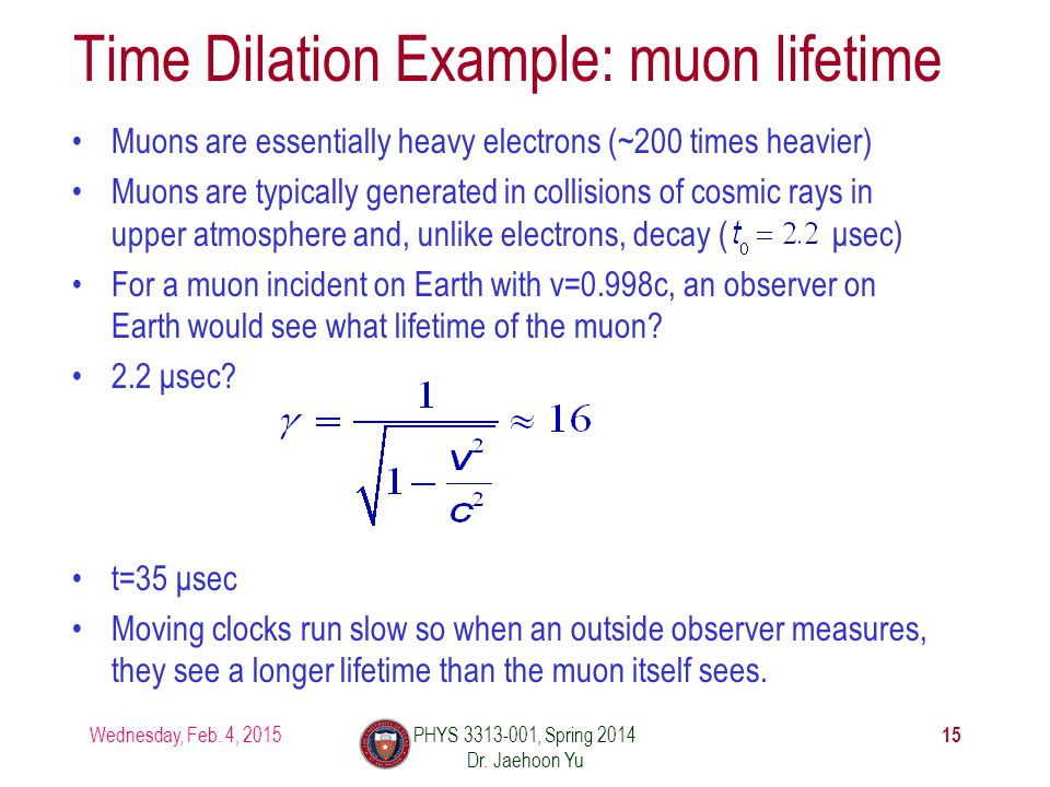 Time Dilation Example: muon lifetime Muons are essentially heavy electrons (~200 times heavier) Muons are typically generated in collisions of cosmic rays in upper atmosphere and, unlike electrons, decay ( μsec) For a muon incident on Earth with v=0.998c, an observer on Earth would see what lifetime of the muon.