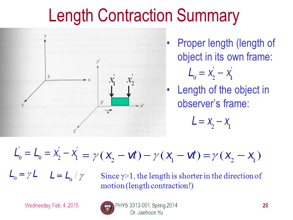Length Contraction Summary Proper length (length of object in its own frame: Length of the object in observer's frame: Wednesday, Feb.