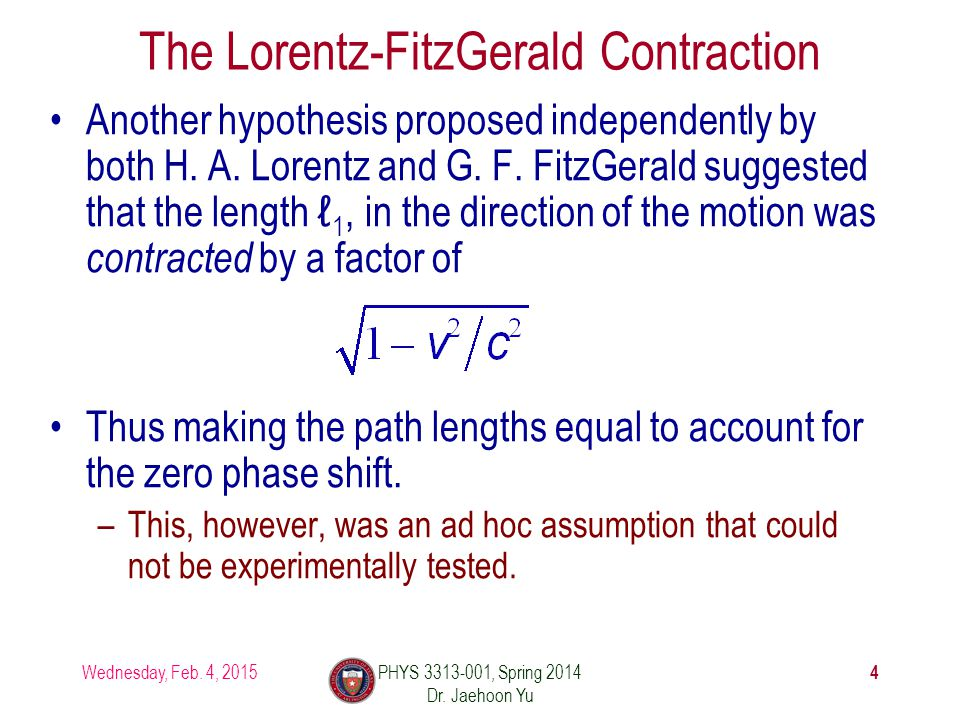 The Lorentz-FitzGerald Contraction Another hypothesis proposed independently by both H.