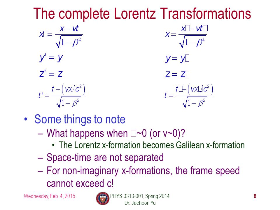 The complete Lorentz Transformations Wednesday, Feb.