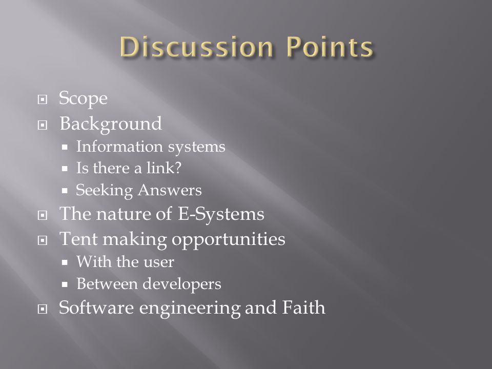  Scope  Background  Information systems  Is there a link.