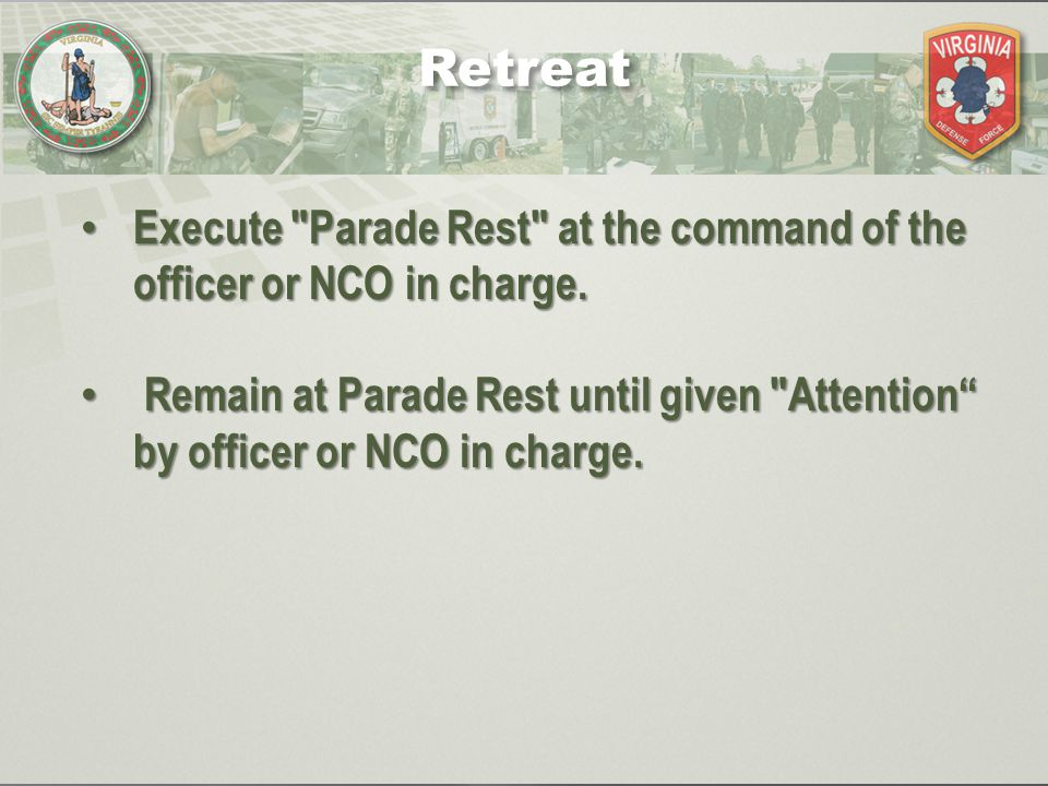 Execute Parade Rest at the command of the officer or NCO in charge.