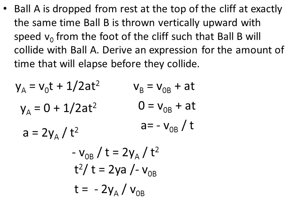 Ball A is dropped from rest at the top of the cliff at exactly the same time Ball B is thrown vertically upward with speed v 0 from the foot of the cl