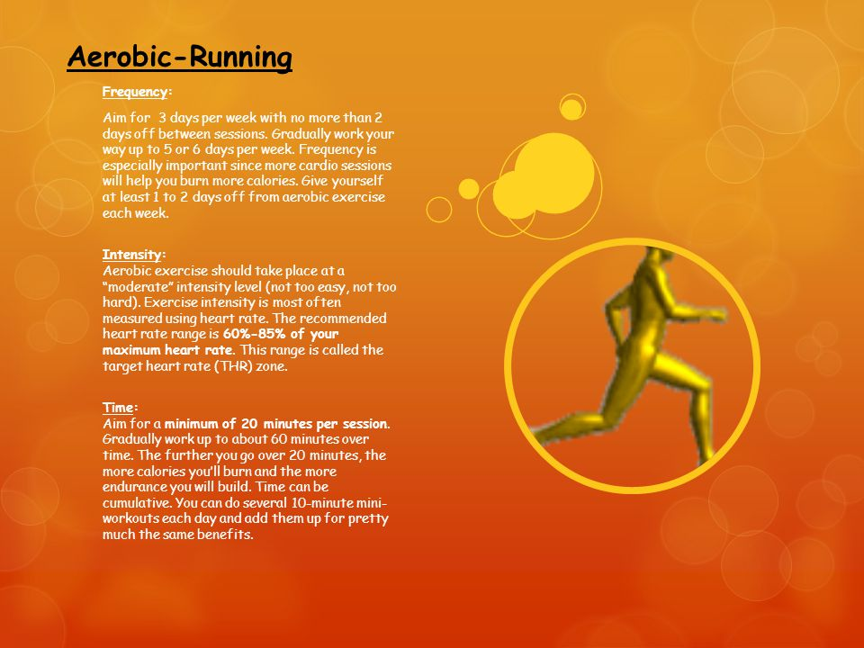 Aerobic-Running Frequency: Aim for 3 days per week with no more than 2 days off between sessions.