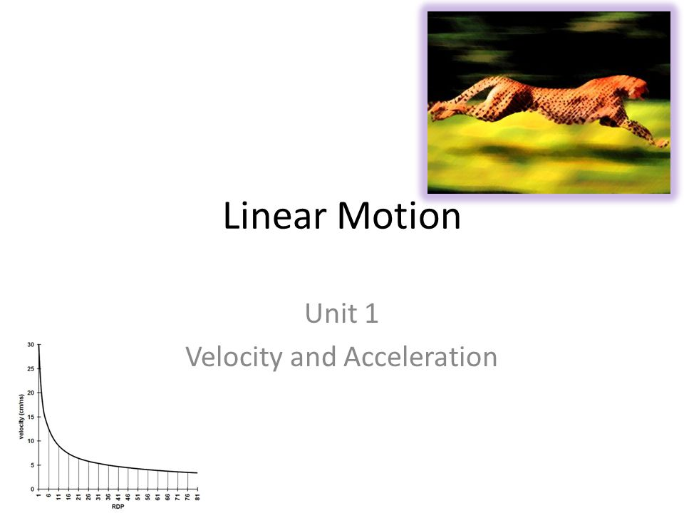 Linear Motion Unit 1 Velocity and Acceleration