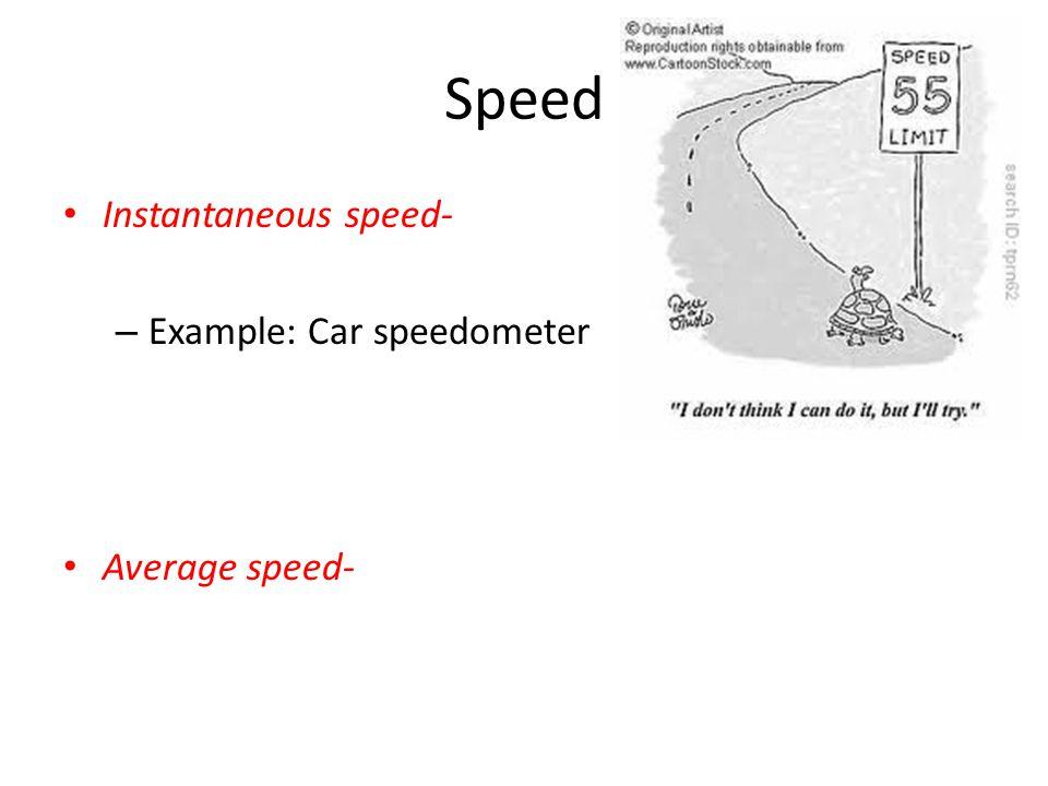 Speed Instantaneous speed- – Example: Car speedometer Average speed-