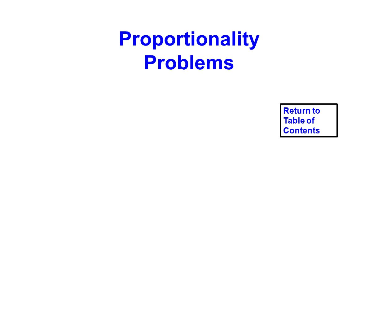 Proportionality Problems Return to Table of Contents