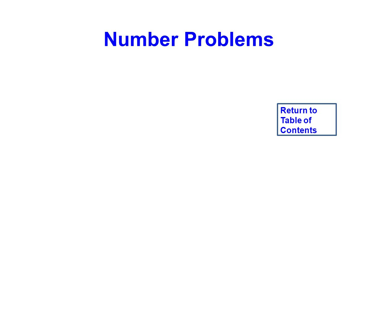 Number Problems Return to Table of Contents