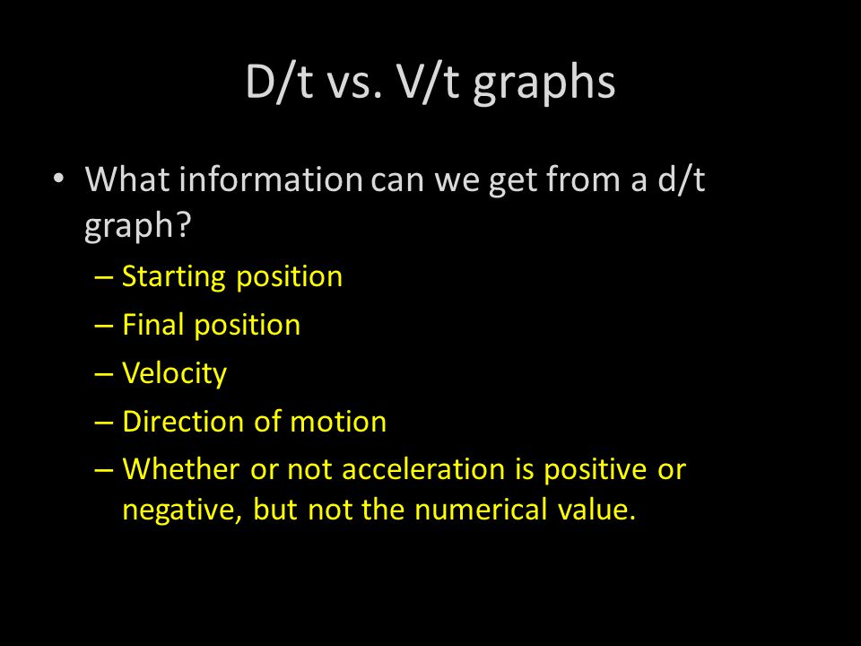 D/t vs. V/t graphs What information can we get from a d/t graph.