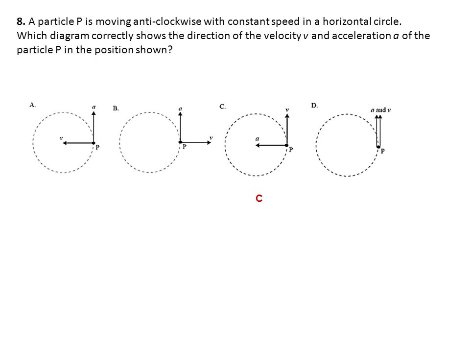 8.A particle P is moving anti-clockwise with constant speed in a horizontal circle.