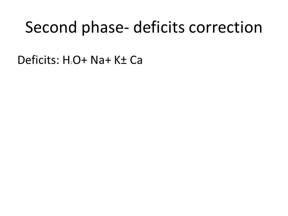 Second phase- deficits correction Deficits: H 2 O+ Na+ K± Ca