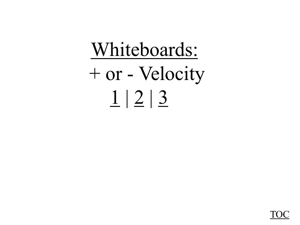 Whiteboards: + or - Velocity 11 | 2 | 323 TOC