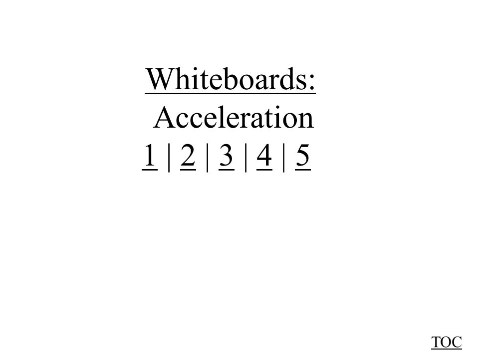 Whiteboards: Acceleration 11 | 2 | 3 | 4 | 52345 TOC