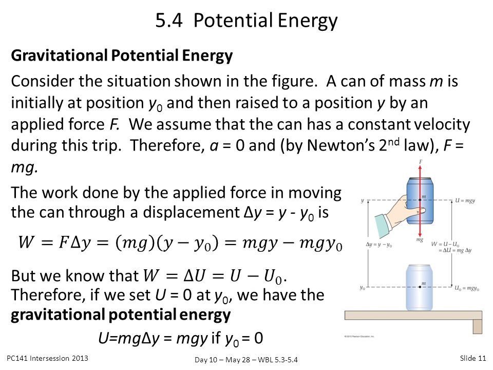 Day 10 – May 28 – WBL 5.3-5.4 Gravitational Potential Energy Consider the situation shown in the figure. A can of mass m is initially at position y 0