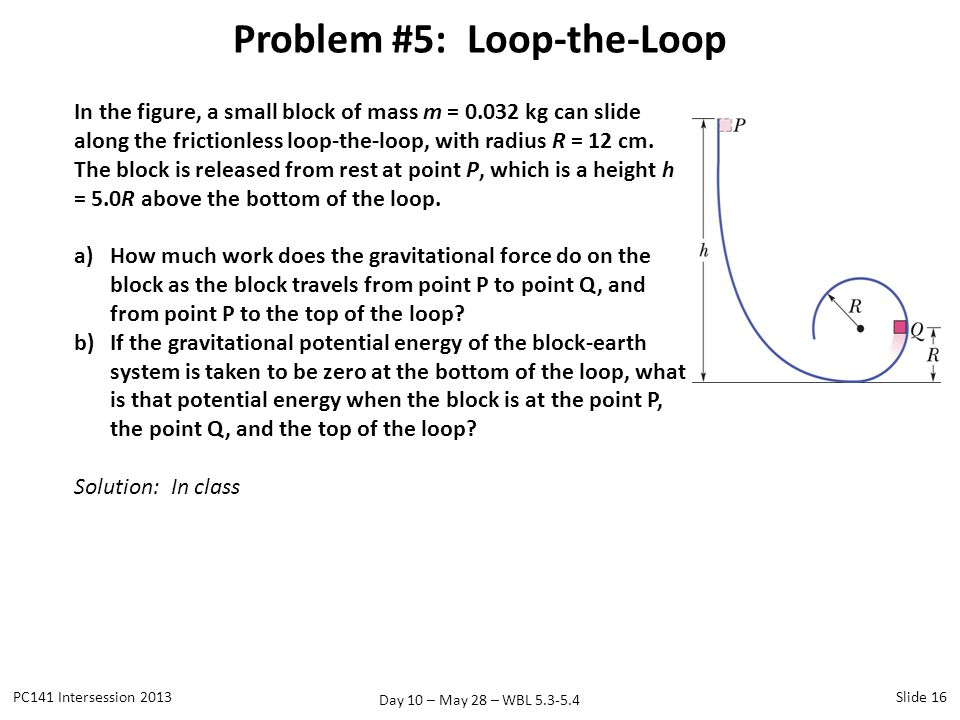Day 10 – May 28 – WBL 5.3-5.4 Problem #5: Loop-the-Loop PC141 Intersession 2013Slide 16 In the figure, a small block of mass m = 0.032 kg can slide al