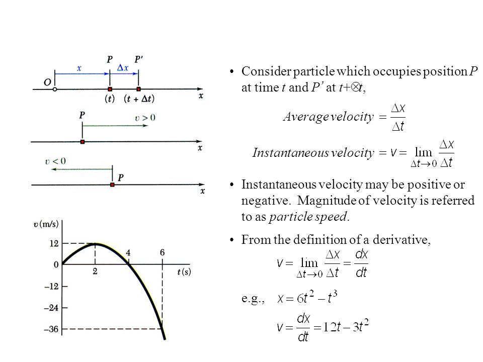 Instantaneous velocity may be positive or negative. Magnitude of velocity is referred to as particle speed. Consider particle which occupies position