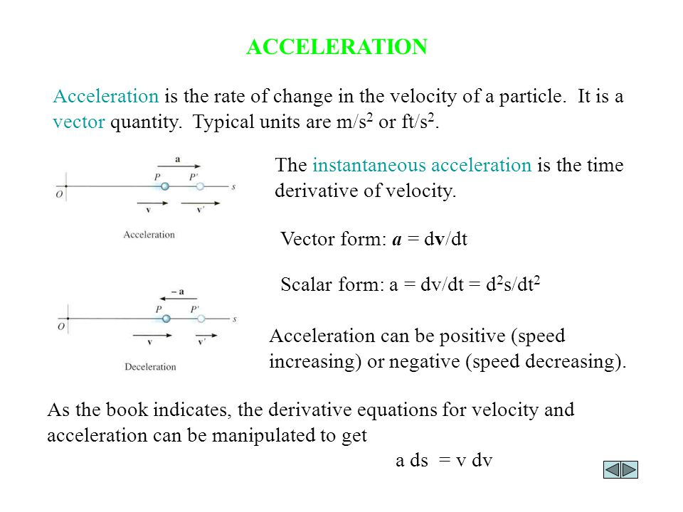 ACCELERATION Acceleration is the rate of change in the velocity of a particle. It is a vector quantity. Typical units are m/s 2 or ft/s 2. The instant