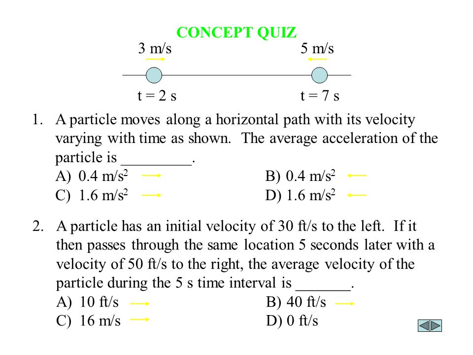 CONCEPT QUIZ 1.A particle moves along a horizontal path with its velocity varying with time as shown. The average acceleration of the particle is ____