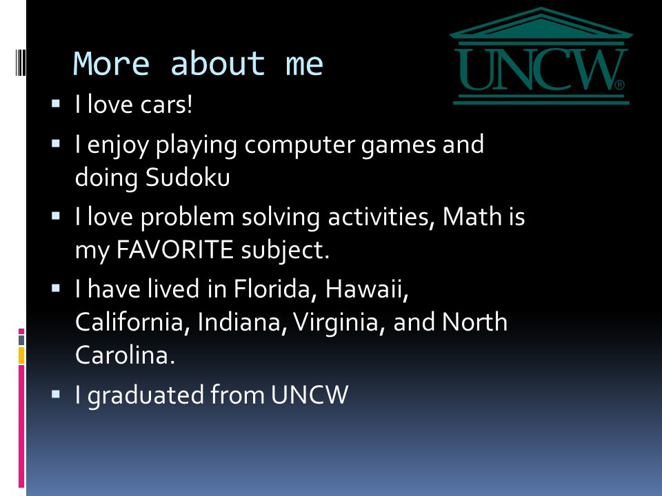 More about me  I love cars.