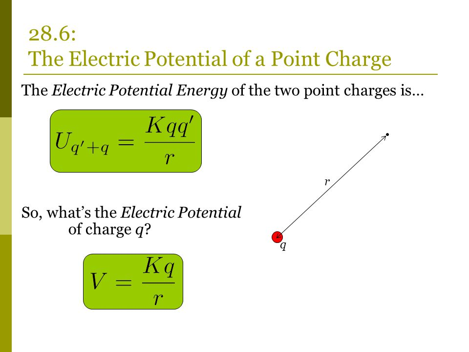 The Electric Potential Energy of the two point charges is… So, what's the Electric Potential of charge q.