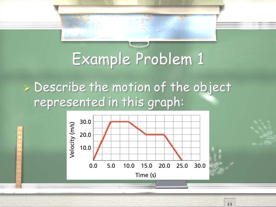 Example Problem 1  Describe the motion of the object represented in this graph: