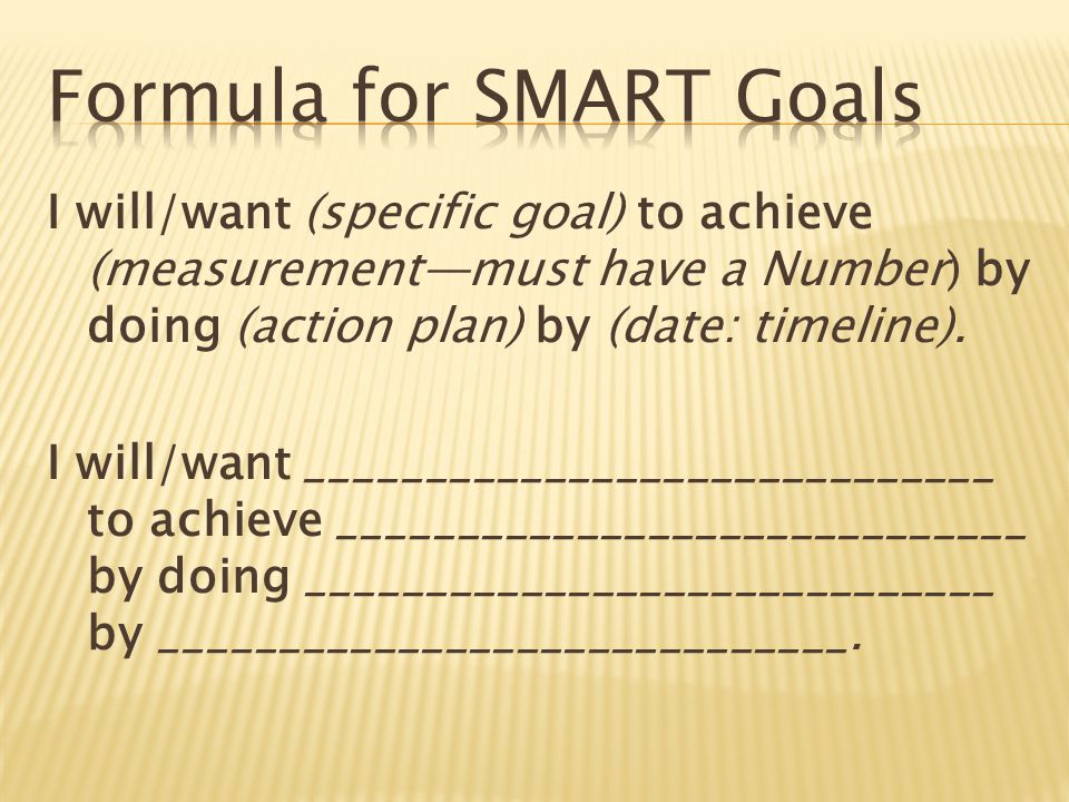 I will/want (specific goal) to achieve (measurement—must have a Number) by doing (action plan) by (date: timeline).