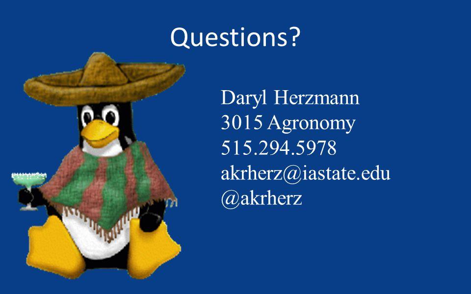 Questions? Daryl Herzmann 3015 Agronomy 515.294.5978 akrherz@iastate.edu @akrherz