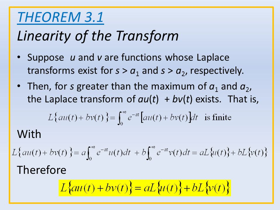 Suppose u and v are functions whose Laplace transforms exist for s > a 1 and s > a 2, respectively. Then, for s greater than the maximum of a 1 and a